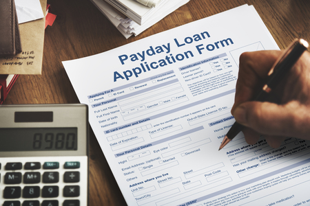 loaning: Payday Loan Application Form Salary Debt Concept Stock Photo