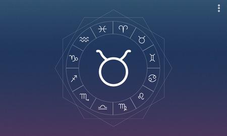 foretell: Taurus Symbol Horoscope Zodiac Fortune Graphic Concept Stock Photo
