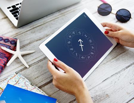 foretell: Sagittarius Symbol Horoscope Zodiac Graphic Concept