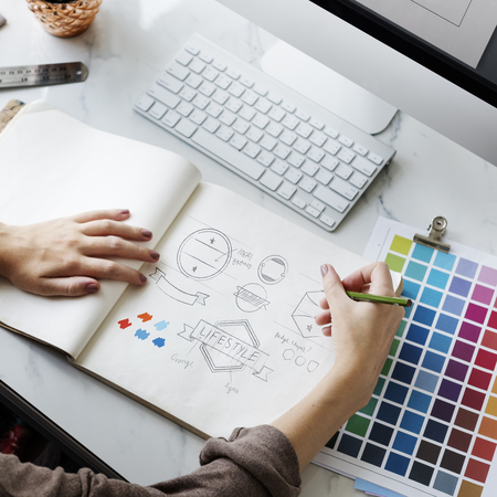 to shade: Color Shade Swatch Stationary Designer Creative Concept