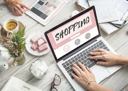 consumerism: Shopping Online Consumerism Connection Sale Concept Stock Photo