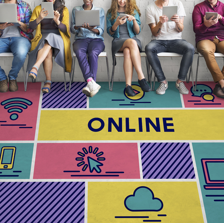 diversity domain: Online Networking Internet Computer Sharing Concept Stock Photo