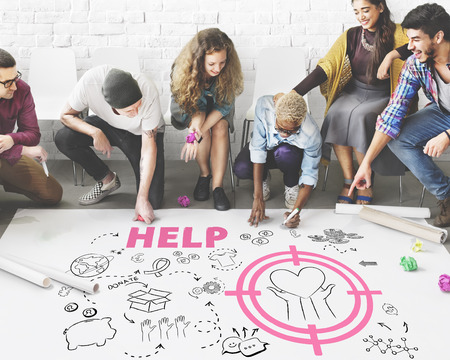 work of writing: Donations Foundation Giving Help Welfare Charity Concept Stock Photo