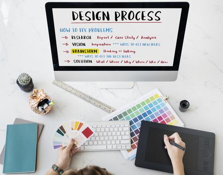 Concepto de diseño de soluciones creativas Proceso Foto de archivo