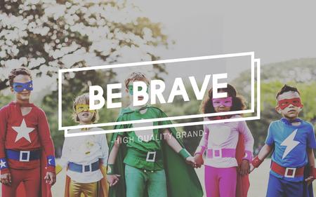 cherished: Be Brave Children Childhood Innocent Kids Concept Stock Photo