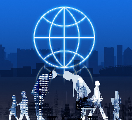 bowing: Globe Global Business Planet Shape Concept Stock Photo