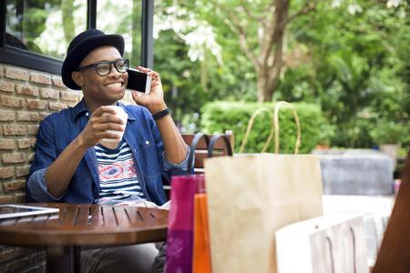 consumerism: Man Shopping Spending Customer Consumerism Concept