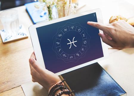 foretell: Pisces Horoscope Zodiac Fortune Symbol Graphic Concept Stock Photo