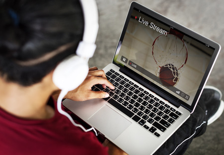 live stream listening: Live Stream Video Multimedia Concept Stock Photo