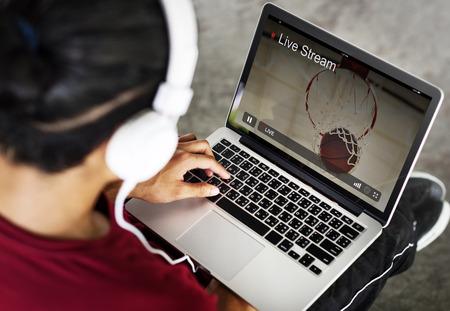 live stream listening: Live Stream Video Multimedia Concept Stock Photo