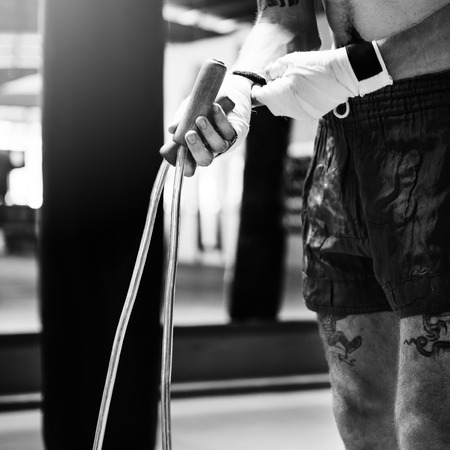 saltar la cuerda: Boxer Jump Rope Training Strength Workout Concept Foto de archivo