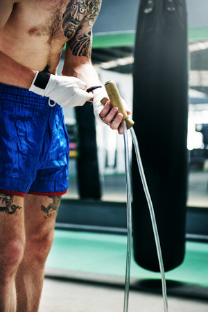 Boxer Jump Rope Training Strength Workout Concept Stock Photo