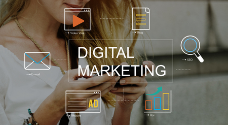 mobile sms: Digital Marketing Media Technology Graphic Concept