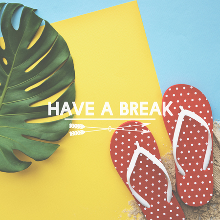 Summer Break Lifestyle Flipflop Vacation Words Concept Stock Photo