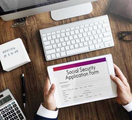 seguridad social: Social Security Application Form Insurance Pension Concept