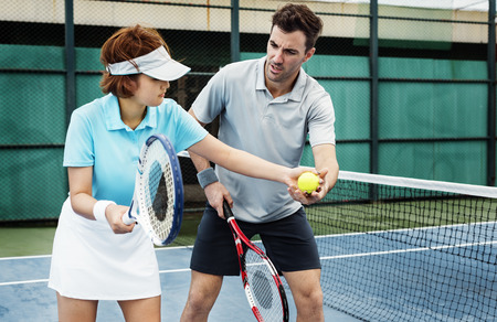 Tennis Palyer Training Match Game Lifestyle Concept Imagens