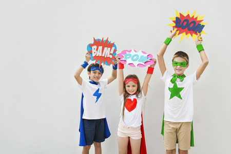 other keywords: Superheroes Kids Costume Bubble Comic Concept Stock Photo