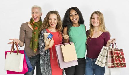consumerism: Women Shopping Spending Consumerism Shopaholic Concept