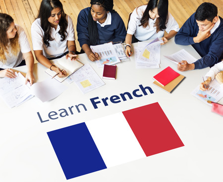 study: Learn French Language Online Education Concept Stock Photo