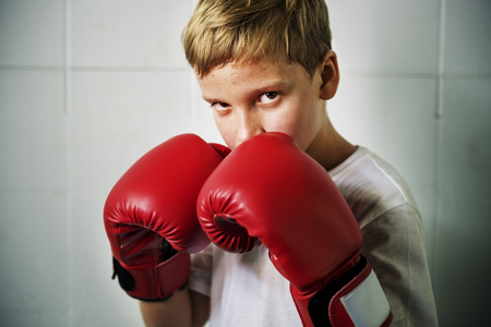 Boy Training Boxing Exercise Movement Concept Stock Photo