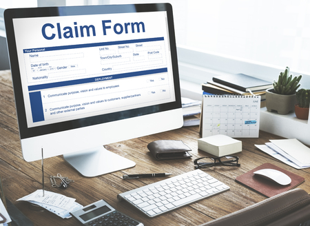 compensate: Claim Form Document Fefund Indemnity Concept Stock Photo