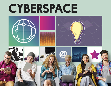 Group of people using digital devices with cyberspace concept