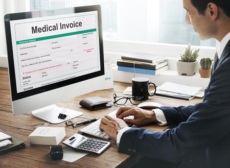 医療請求書ドキュメント フォーム患者コンセプト 写真素材
