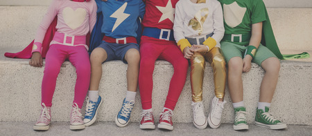 expressing: Superheroes Cheerful Kids Expressing Positivity Concept