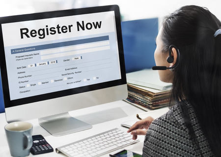 joining services: Register Now Application Information Concept Stock Photo