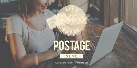 postage: Postage Postal Stamp Delivery Postmark Concept