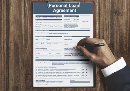 Personal Loan Agreement Bankiing Finance Credit Concept