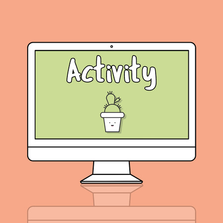 Computer with activity concept 写真素材