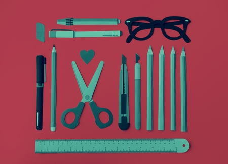 crayon  scissors: Pen Color Pencil Scissor Eraser Ruler Eyeglasses Concept Stock Photo