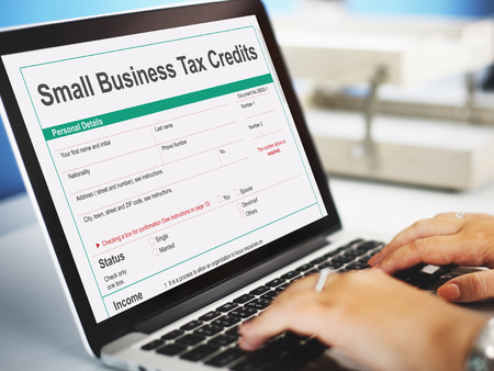 deduction: Small Business Tax Credits Claim Return Deduction Refund Concept Stock Photo