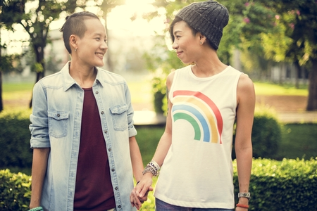 the moments: LGBT Lesbian Couple Moments Happiness Concept