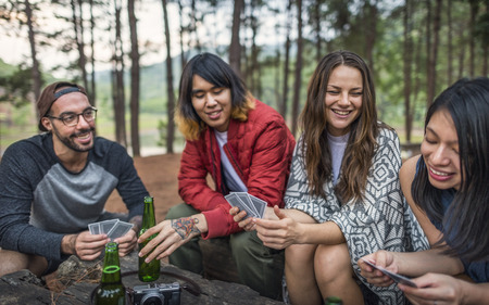People Friendship Hangout Traveling Destination Camping Concept Stock Photo