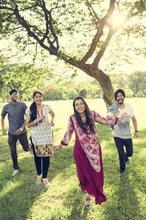 indian ethnicity: Indian Ethnicity Park Companionship Friend Concept Stock Photo
