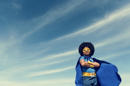 Little Boy Super Hero Concept Imagens