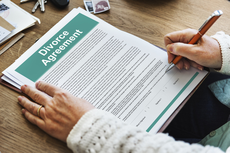 sue: Divorce Agreement Decree Document Break up Concept Stock Photo