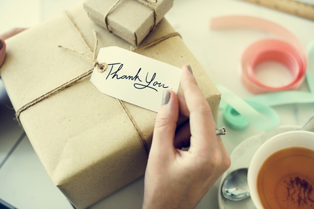 Thank You Gift Message Present Packing Concept Reklamní fotografie - 65166778