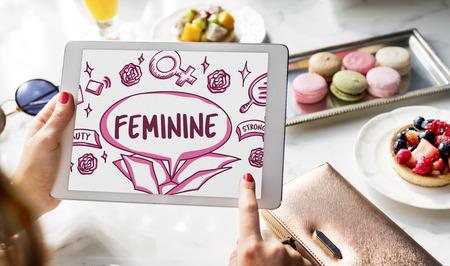 outside the box: Feminine Icons Symbols Outside Box Sketch Concept