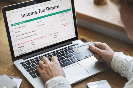 exemption: Income Tax Return Deduction Refund Concept Stock Photo
