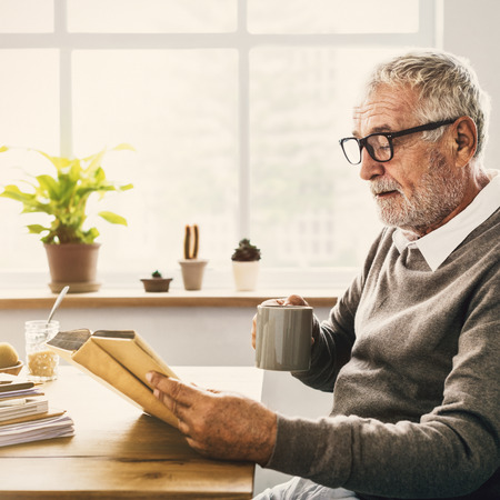 Reading Relaxation Pension Grandfather Coffee Concept Stok Fotoğraf - 65168344