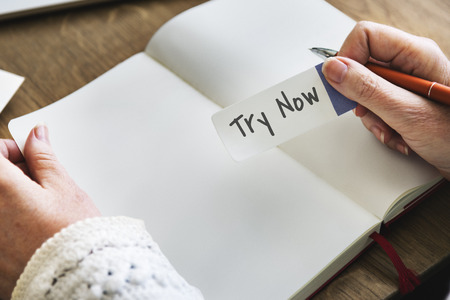 to try: Try Now New Things Concept Stock Photo