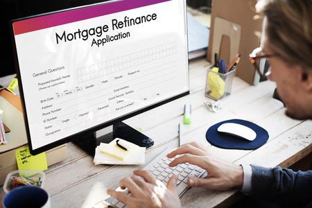 Mortgage Refinance Application Form Concept Imagens - 65168795