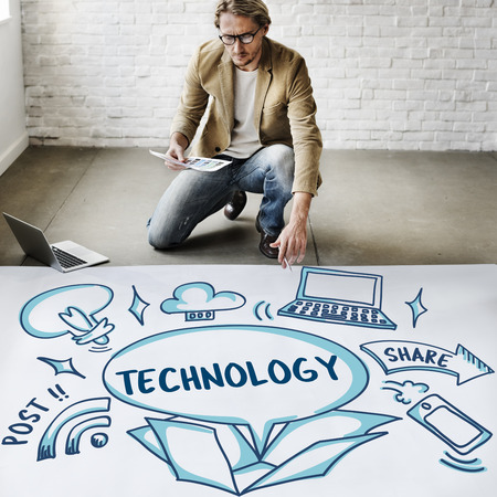outside the box: Internet Technology Ideas Outside Box Sketch Concept Stock Photo