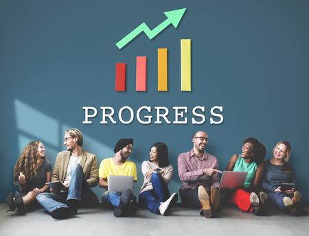 asian man laptop: Finance Economic Progress Analysis Concept Stock Photo