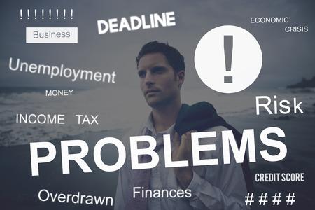preocupacion: Problema de negocios preocupación Preocupado concepto gráfico Foto de archivo