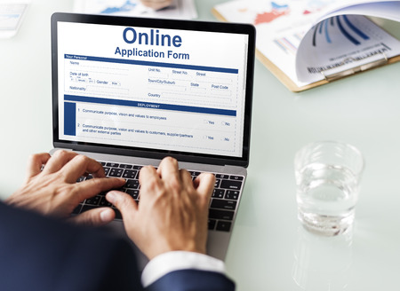 online form: Online Application Form Info Detail Concept Stock Photo