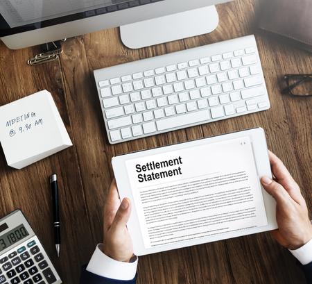 settlement: Settlement Statement Insurance Concept